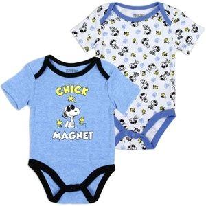 One Pieces - Snoopy Woodstock Peanuts Newborn 2-Pack Bodysuit